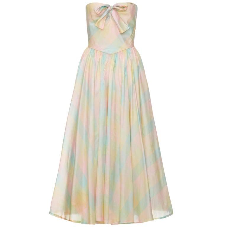 1980's Strapless Checked Silk Dress 1