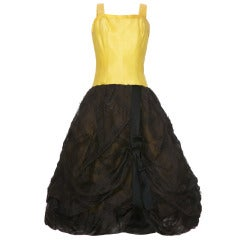 1950's  Oscar de la Renta Yellow and Black Bubble Dress (Unlabelled)