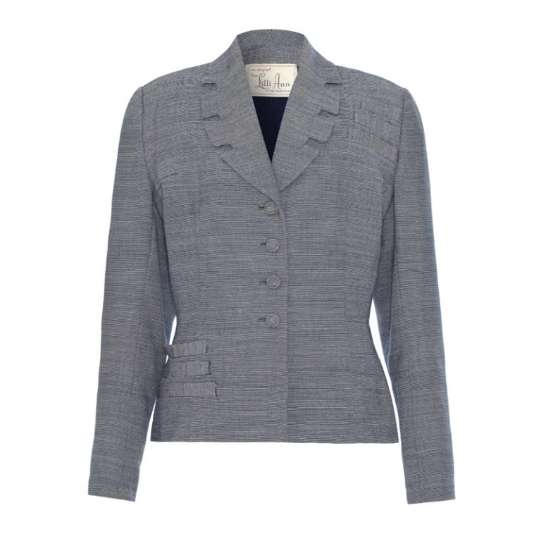 Quirky 1940's Lilli Ann Grey Tailored Jacket