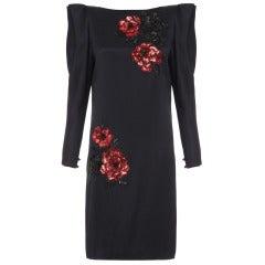1980s Italian Couture Black Silk & Floral Sequin Andrea Odicini Dress