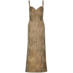 1950's John Cavanagh Couture Gold Lame Gown