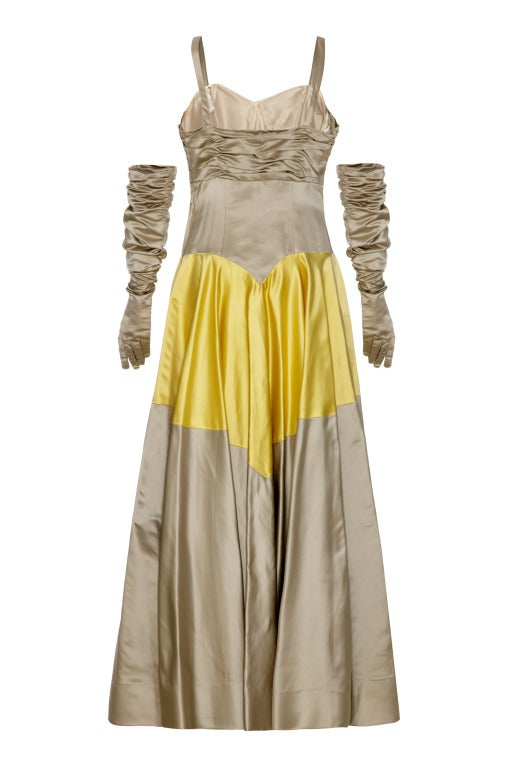 1950's Grey & Yellow Silk Ballgown Dress With Matching Gloves 3