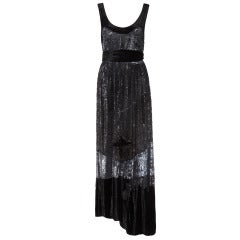1930s Heavily Sequinned Black Velvet Gown
