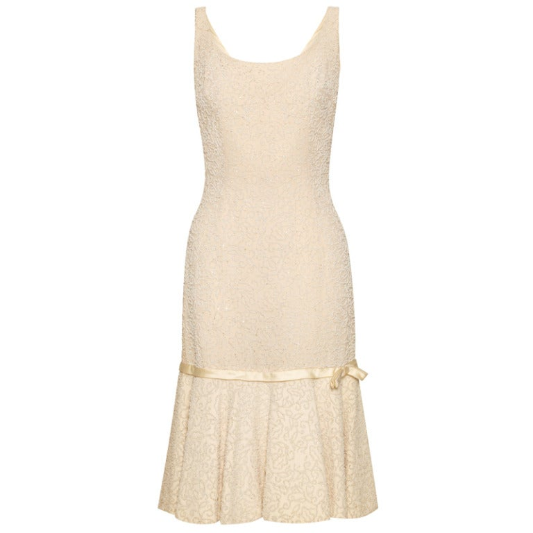 1960s I.Magnin Retailed Cream Jacques Heim Demi Couture Beaded Dress
