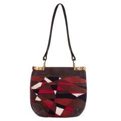 Rare 1960s Emilio Pucci Large Velvet and Leather Handbag