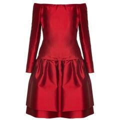1980s Victor Edelstein Crimson Couture Dress