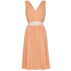 1950s Peach Crepe Minx Modes Dress