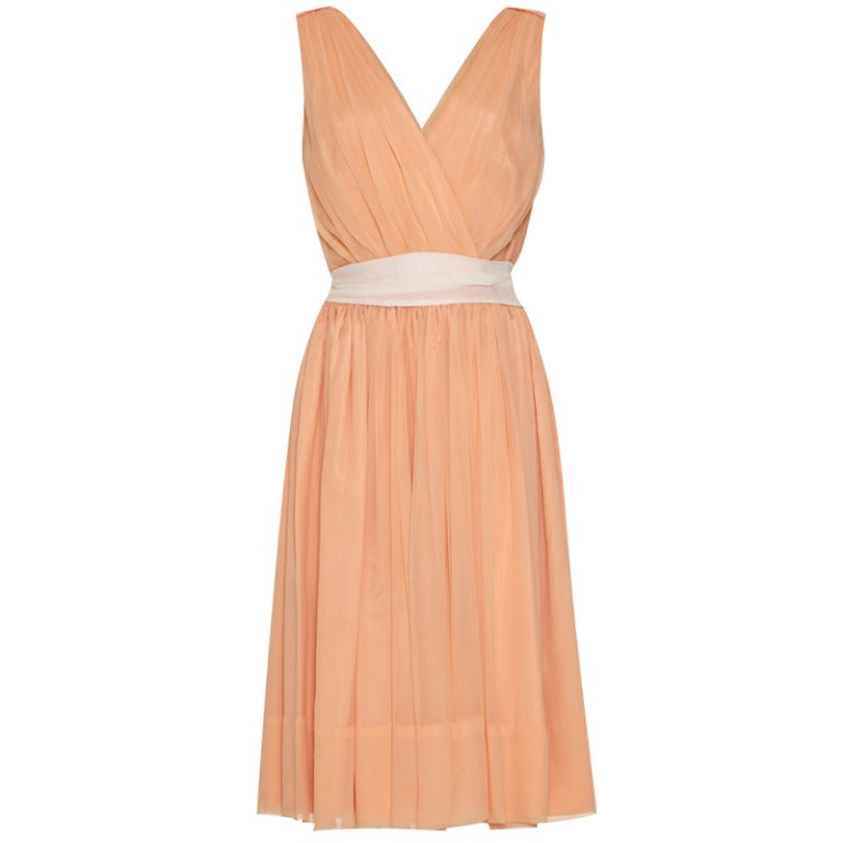 1950s Peach Crepe Minx Modes Dress For Sale