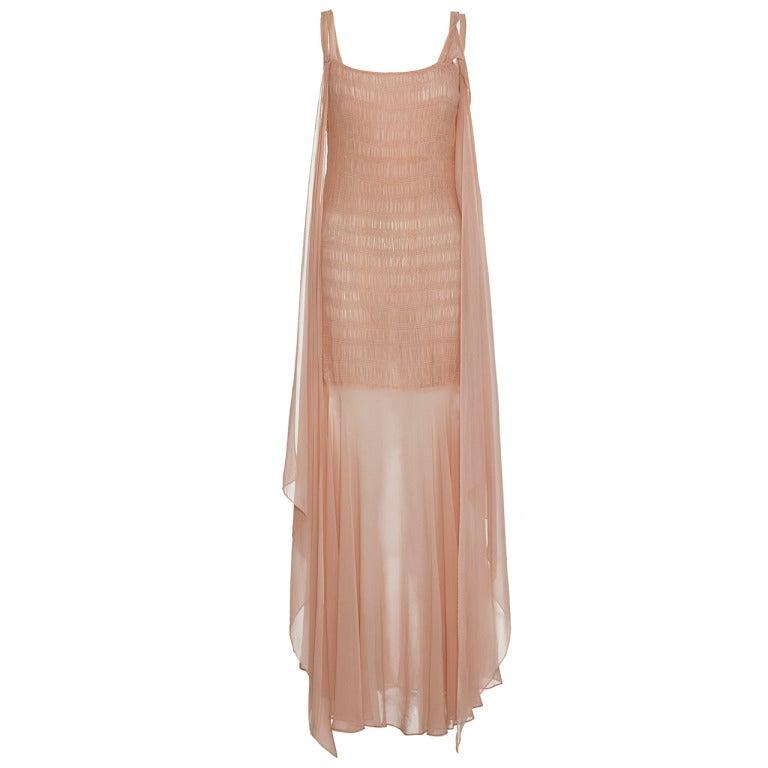 1920s-30s Blush Pink Full Length Dress 1