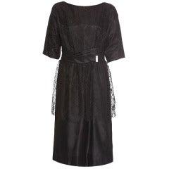 1950s Black Lace Peplum Cocktail Dress