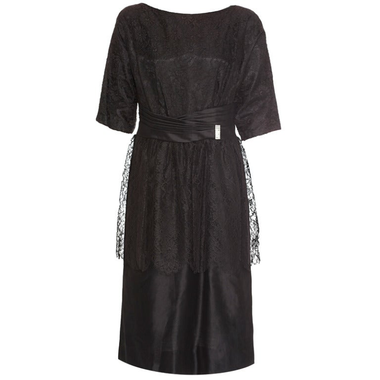 ea52aefe4d8 1950s Black Lace Peplum Cocktail Dress For Sale at 1stdibs