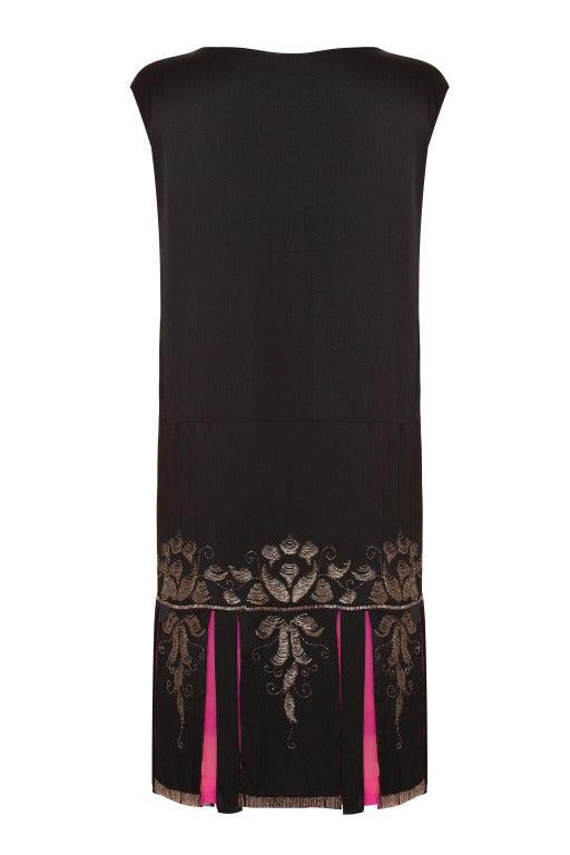 1920s Black Liquid Satin Beaded Flapper Dress 2