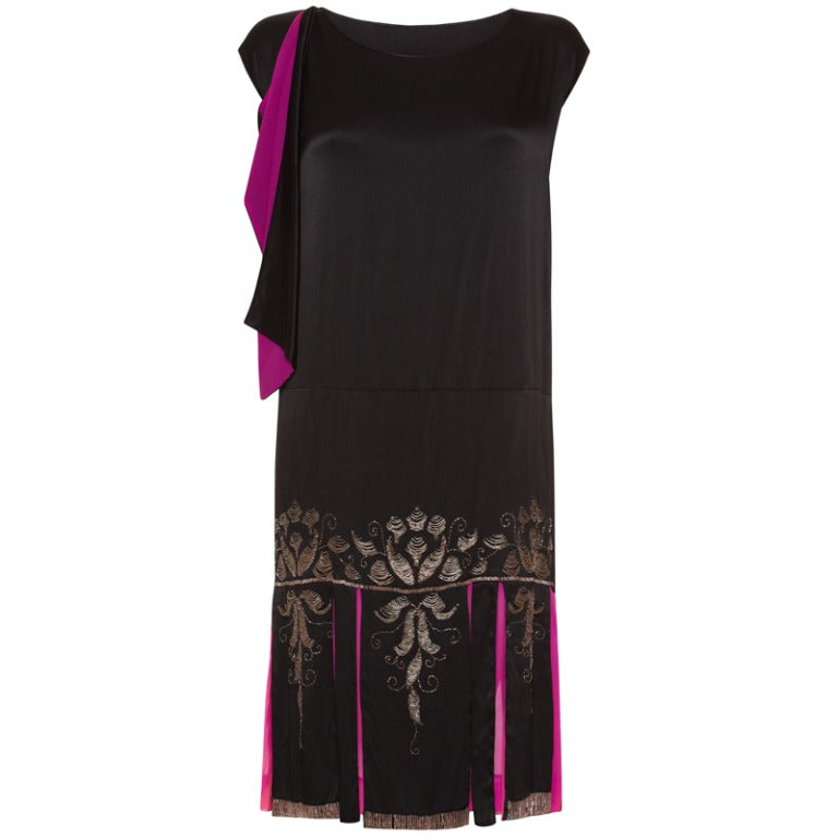 1920s Black Liquid Satin Beaded Flapper Dress 1