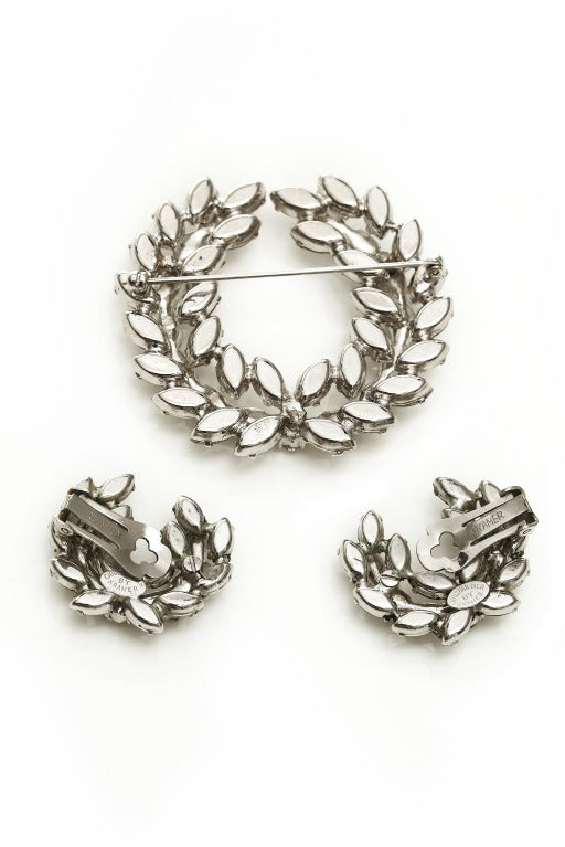 1950s-60s Christian Dior by Kramer Rhinestone Wreath Brooch + Earring Set image 2