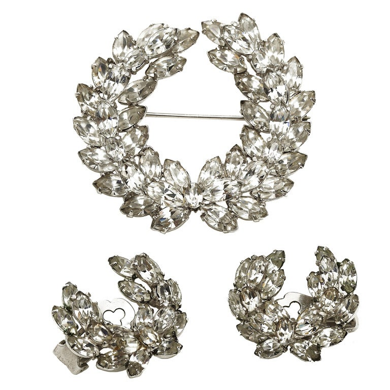 1950s-60s Christian Dior by Kramer Rhinestone Wreath Brooch + Earring Set