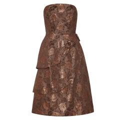 1950s Bronze Floral Brocade Strapless Dress