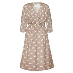 1950s Frederick Starke Grey Printed Silk Dress