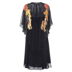 1970s Jean Varon Black Chiffon Dress