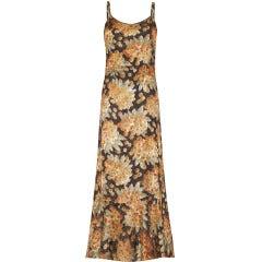 1930s Bias Cut Floral Lamé Dress
