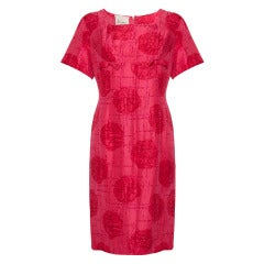 1960s French Boutique label Jacques Cerise Abstract Rose Print Dress
