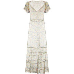 1920s 1930s Sheer Floral Silk Chiffon Ruffle Sleeve Dress in Amazing Condition
