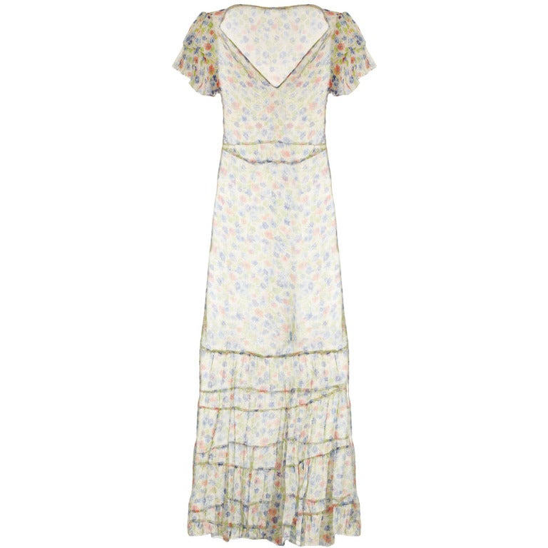 1920s Sheer Floral Ruffle Sleeve Dress 1