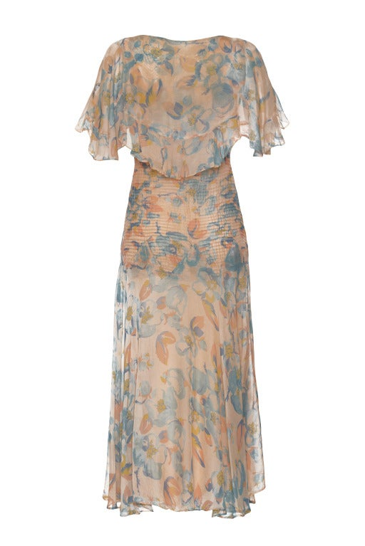 1930s Blue and Apricot Dress with Capelet 2