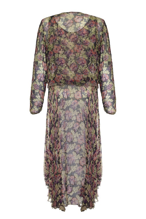 1920s Floral Georgette Beaded Flapper Dress and Jacket Set 2