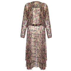 1920s Floral Georgette Beaded Flapper Dress and Jacket Set
