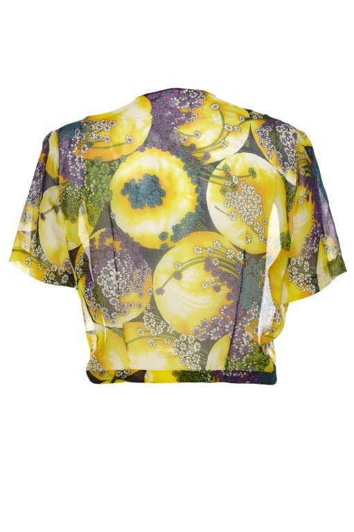 Rare 1940s Novelty Print Daisy and Sun Print Sheer Top 2