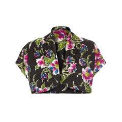1930s Black, Pink and Blue Floral Bolero Jacket