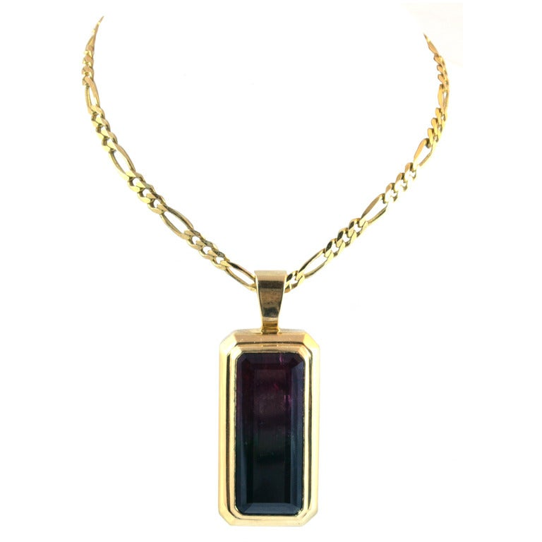 particolored watermelon tourmaline yellow gold pendant at