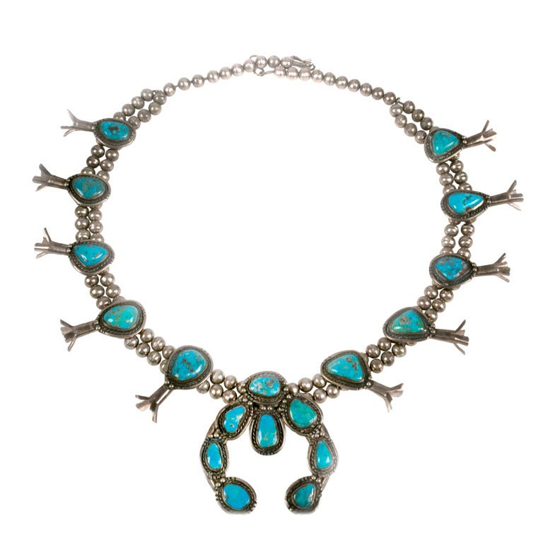 navajo turquoise silver squash blossom necklace