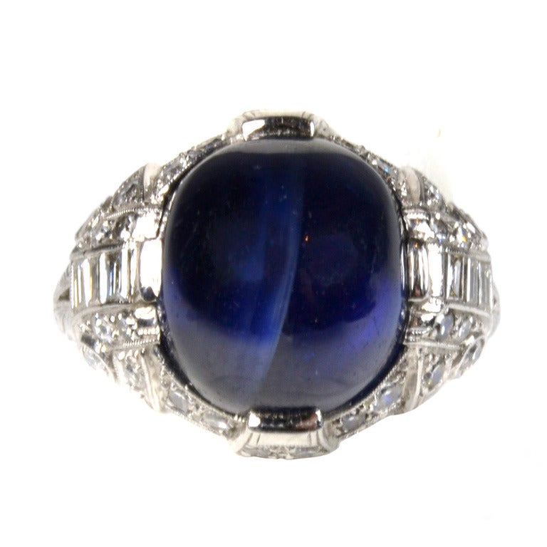 Blue Star Sapphire And Diamond Ring At 1stdibs