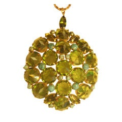 Schreiner New York Signed Huge Green Rhinestone & Turquoise Pendant