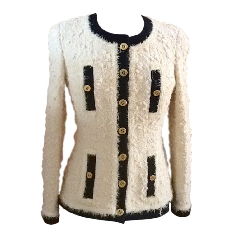 chanel ivory thick wool boucle black trim jacket mega buttons at 1stdibs