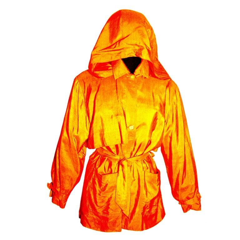 1990s Isaac Mizrahi 100 Silk Tangerine Trench Thin Rain Coat W Hood At 1stdibs