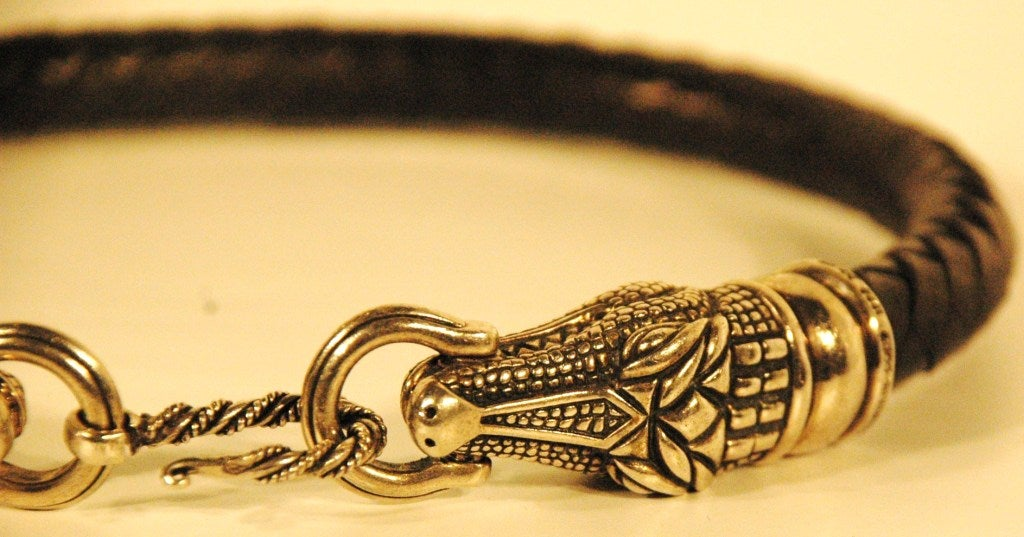 1993 barry kieselstein cord double alligator head sterling for Barry kieselstein cord jewelry