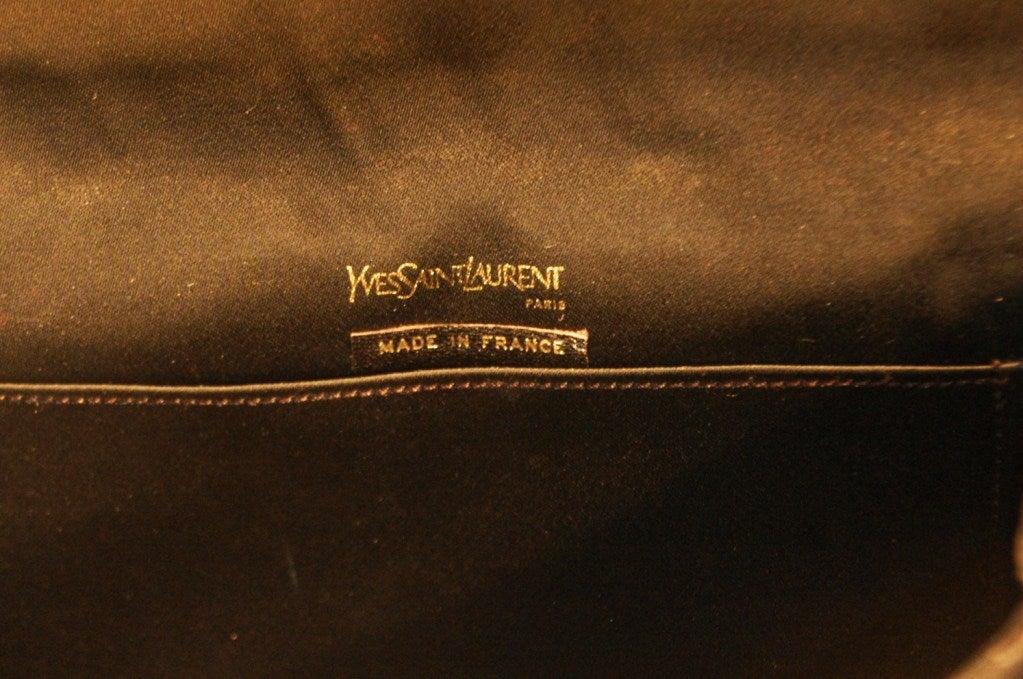 Vintage Yves Saint Laurent Black Velet Evening Clutch w Satin Bow ...