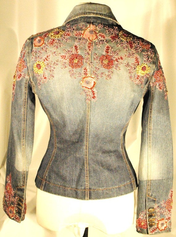 Dolce and gabbana embroidered beaded denim jacket