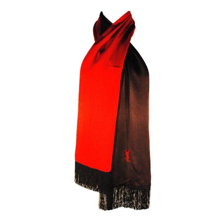 vintage yves laurent black and silk satin scarf