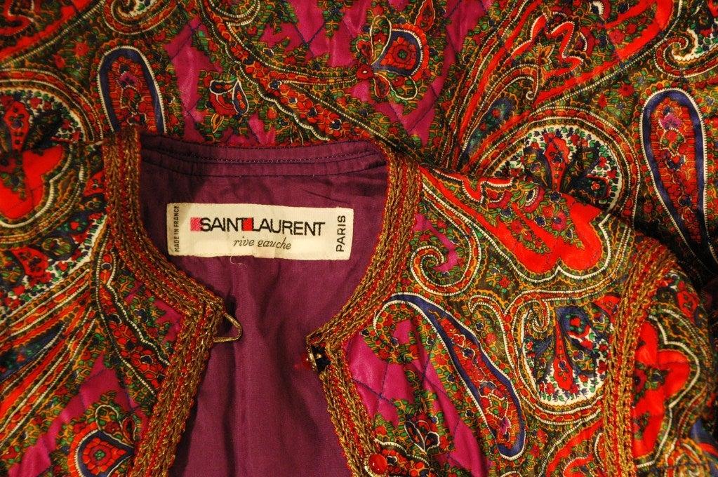 Vintage Rare Yves Saint Laurent Rive Gauche Quilted Paisley ...