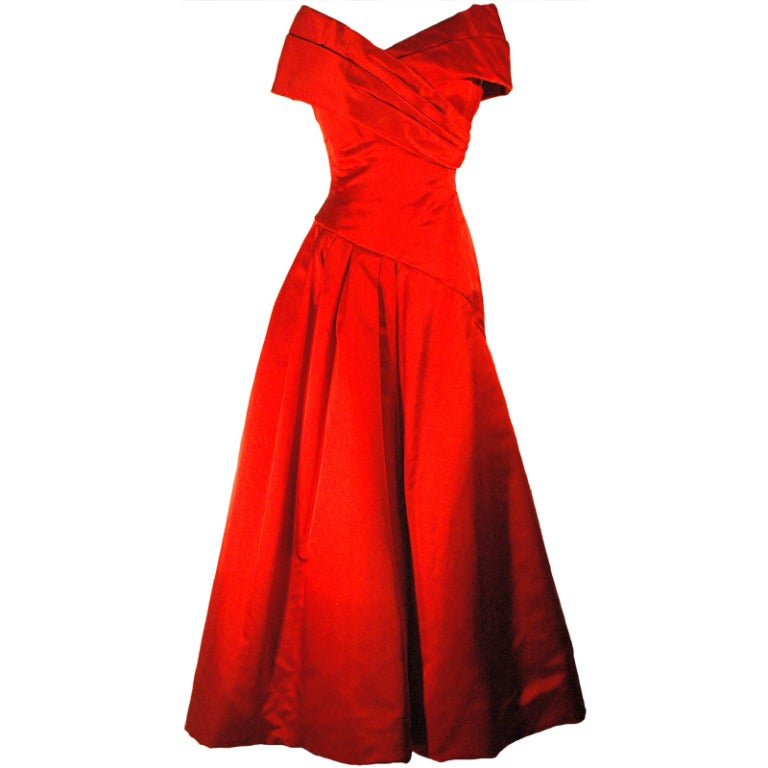 Vintage arnold scaasi boutique red off shoulders gown for Costume jewelry for evening gowns