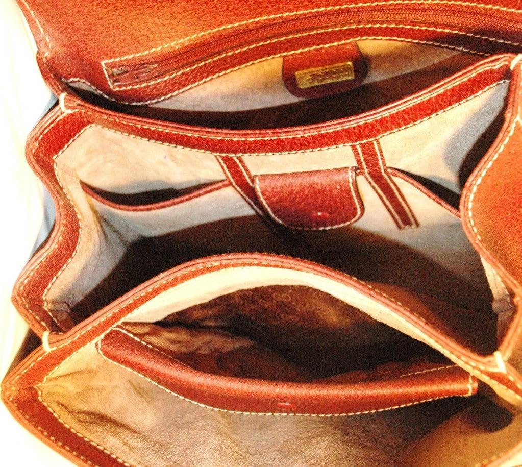 Rare Vintage1960s  Gucci Wooden Handle Bordeaux Leather Multi Compartment Handbag image 10
