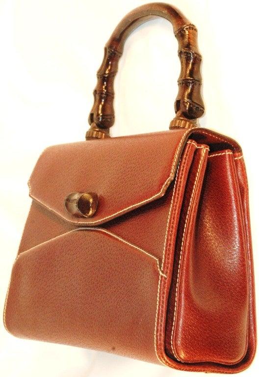Rare Vintage1960s  Gucci Wooden Handle Bordeaux Leather Multi Compartment Handbag image 2