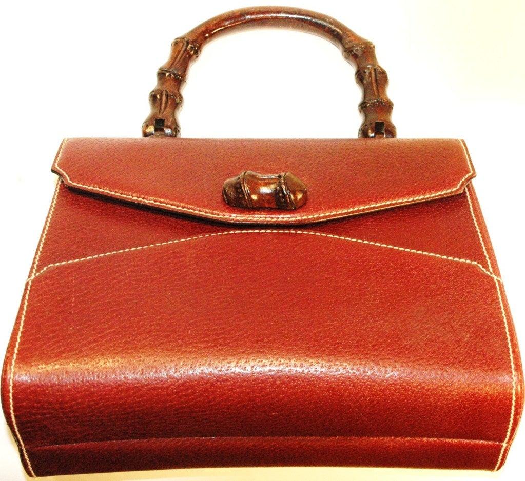 Rare Vintage1960s  Gucci Wooden Handle Bordeaux Leather Multi Compartment Handbag image 3