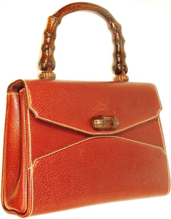 Rare Vintage1960s  Gucci Wooden Handle Bordeaux Leather Multi Compartment Handbag image 4