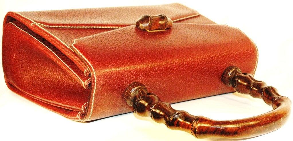 Rare Vintage1960s  Gucci Wooden Handle Bordeaux Leather Multi Compartment Handbag image 6