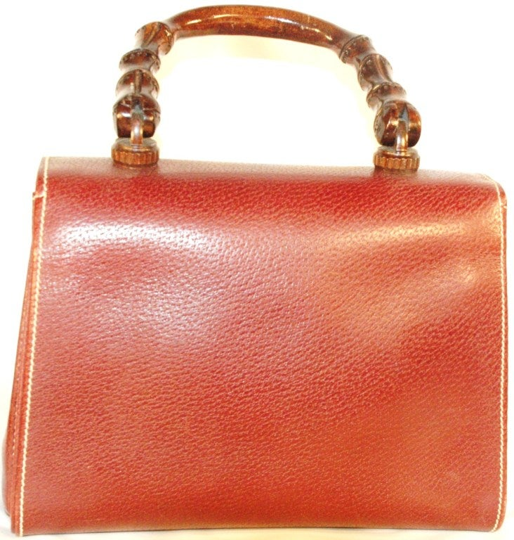 Rare Vintage1960s  Gucci Wooden Handle Bordeaux Leather Multi Compartment Handbag image 7