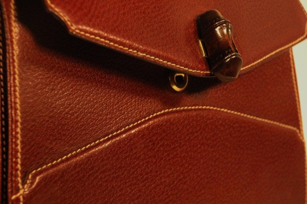 Rare Vintage1960s  Gucci Wooden Handle Bordeaux Leather Multi Compartment Handbag image 9